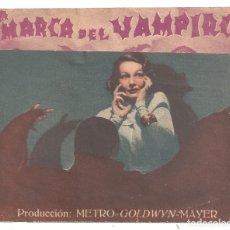 Cine: PTEB 066 LA MARCA DEL VAMPIRO PROGRAMA DOBLE MGM BELA LUGOSI TOD BROWNING LIONEL BARRYMORE E. ALLAN. Lote 175664822