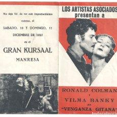 Cine: PTEB 066 VENGANZA GITANA PROGRAMA DOBLE ARTISTAS ASOCIADOS CINE MUDO RONALD COLMAN VILMA BANKY. Lote 175665452