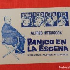 Cine: PANICO EN LA ESCENA,FACSIMIL EXCTE. ESTADO, ALFRED HITCHCOCK, SIN PUBLICIDAD. Lote 175708865