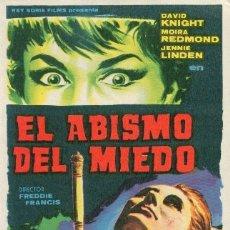 Cine: EL ABISMO DEL MIEDO. Lote 175721923