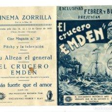 Folhetos de mão de filmes antigos de cinema: EL CRUCERO EMDEN.. Lote 175792550