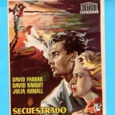 Cine: FOLLETO DE SECUESTRADO EN LONDRES PUBLICIDAD CINE GADES CÁDIZ EL AÑO 1958. Lote 175852890