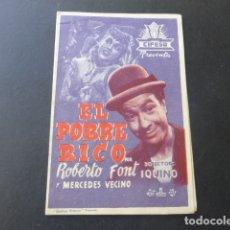 Cine: EL POBRE RICO CIFESA CANCIONES PROGRAMA DE MANO DOBLE PRINCIPAL SANTIAGO DE COMPOSTELA. Lote 175920824
