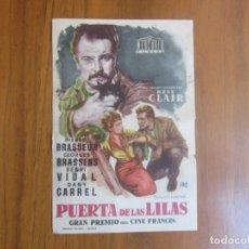 Cine: PROGRAMA DE CINE FOLLETO DE MANO-PUERTA DE LAS LILAS-AÑOS 50-SIN PUBLICIDAD VER FOTOS. Lote 175955309