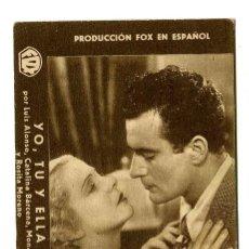 Cine: YO, TÚ Y ELLA, CON CATALINA BARCENA.. Lote 175994240