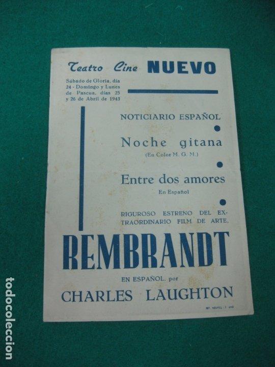 Cine: PROGRAMA DE CINE. REMBRANDT. ALEXANDER KORDA.CHARLES LAUGHTON.TEATRO CINE NUEVO 1943. - Foto 2 - 176068253