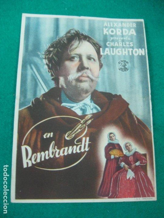 PROGRAMA DE CINE. REMBRANDT. ALEXANDER KORDA.CHARLES LAUGHTON.TEATRO CINE NUEVO 1943. (Cine - Folletos de Mano - Drama)