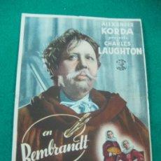 Cine: PROGRAMA DE CINE. REMBRANDT. ALEXANDER KORDA.CHARLES LAUGHTON.TEATRO CINE NUEVO 1943.. Lote 176068253