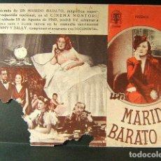 Cine: UN MARIDO BARATO-NINI MONTIAM-LUIS GARCIA ORTEGA-ROSITA MONTAÑA-ALBERTO ROMEA-CINEMA MONTGRI-1942. . Lote 176123452
