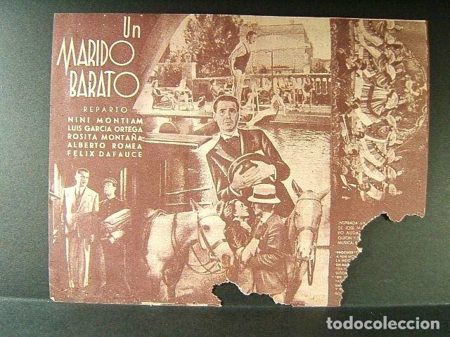 Cine: UN MARIDO BARATO-NINI MONTIAM-LUIS GARCIA ORTEGA-ROSITA MONTAÑA-ALBERTO ROMEA-CINEMA MONTGRI-1942. - Foto 2 - 176123452