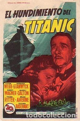 EL HUNDIMIENTO DEL TITANIC (CON PUBLICIDAD) (Cine - Folletos de Mano - Drama)