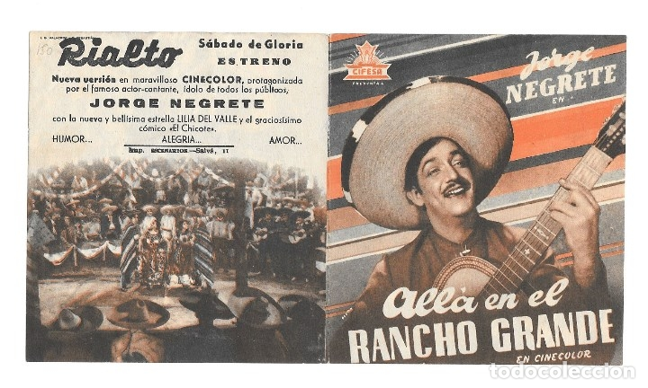 ALLÁ EN EL RANCHO GRANDE DOBLE CP (Cine - Folletos de Mano - Clásico Español)