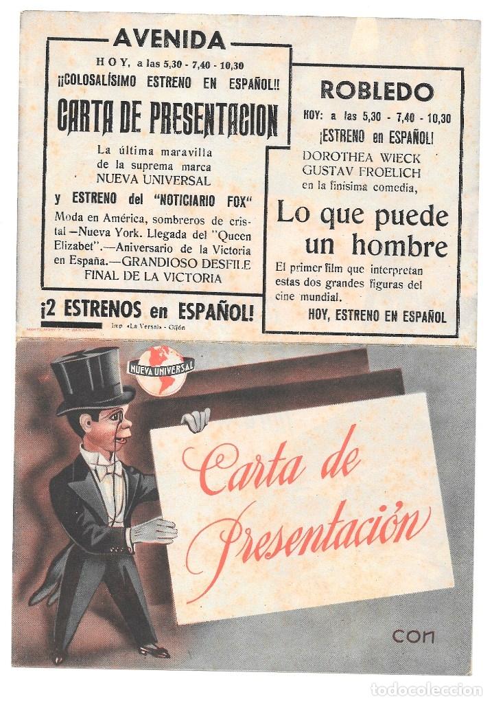 CARTA DE PRESENTACION DOBLE CP LEER DESCRIPCION (Cine - Folletos de Mano - Terror)