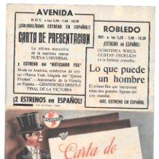 Cine: CARTA DE PRESENTACION DOBLE CP LEER DESCRIPCION. Lote 176271990