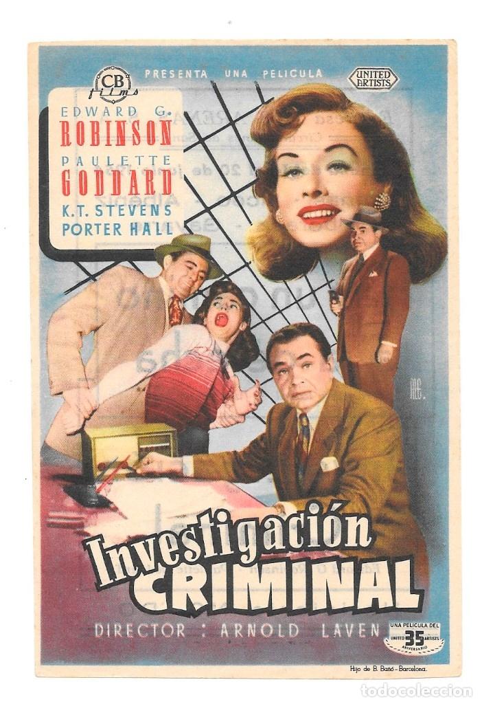 INVESTIGACION CRIMIMNAL CP (Cine - Folletos de Mano - Terror)
