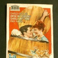 Cine: LA CASAMENTERA (FILM USA 1958) FOLLETO DE MANO - CINE PICAROL (BADALONA) -ANTHONY PERKINS SHIRLEY. Lote 176494282