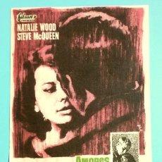 Foglietti di film di film antichi di cinema: AMORES CON UN EXTRAÑO (FILM USA 1963) FOLLETO DE MANO - CINE PICAROL (BADALONA) NATALIE WOOD, QUEEN. Lote 290242348