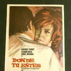 Cine: DONDE TU ESTES (FILM ESPAÑA 1964) FOLLETO DE MANO - SIN PUBLICIDAD - MARIA ASQUERINO -GERMÁN LORENTE. Lote 294556798