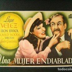 Cine: UNA MUJER ENDIABLADA-LESLIE GOODWINS-LUPE VELEZ-LEON ERROL-CINE VICTORIA-SAN FELIU DE GUIXOLS-1945. . Lote 176860457