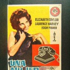 Cine: UNA MUJER MARCADA-DANIEL MANN-ELIZABETH TAYLOR-LAURENCE HARVEY-CINE SALA EDISON-FIGUERAS-1962. . Lote 176860707