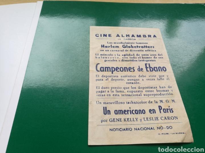 Cine: Programa de cine simple. Campeones de ébano. Con publicidad del cine Alhambra de La Garriga - Foto 2 - 246898690