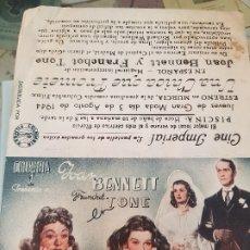 Cine: ANTIGUO PROGRAMA CINE JOAN BENNETT UNA CHICA QUE PROMETE COLUMBIA FILMS MURCIA 1944. Lote 183701067