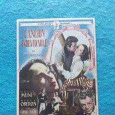 Cine: CANCIÓN INOLVIDABLE. PAUL MUNI, MERLE OBERON, CORNEL WILDE. AÑO 1949.. Lote 177123804