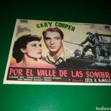 Cine: PROGRAMA DE CINE SIMPLE. POR EL VALLE DE LAS SOMBRAS. Lote 177201235