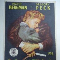 Cine: RECUERDA 1955 ALFRED HITCHCOCK INGRID BERGMAN GREGORY PECK PUBLICIDAD GRAN TEATRO IRIS PROCINES . Lote 177284833