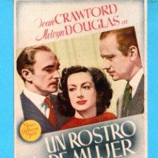 Cine: CINE UN ROSTRO DE MUJER CON JOAN CRAWTORD PUBLICIDAD CINE TEATRO CANETENSE. Lote 195290268