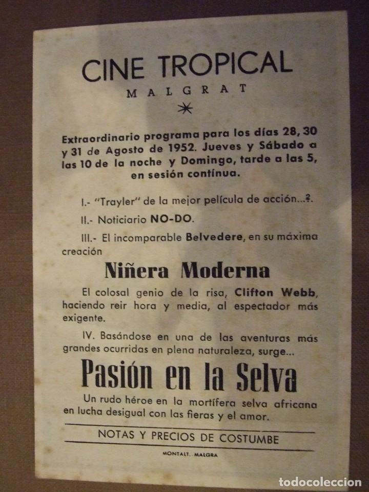 Cine: PASION EN LA SELVA - SIMPLE CON PUBLICIDAD CINE TROPICAL MALGRAT DE MAR - MANCHAS LEVES REVERSO - Foto 2 - 177402570