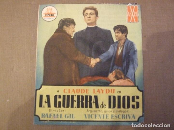 LA GUERRA DE DIOS - DOBLE CON PUBLICIDAD CINE LICEO MALGRAT DE MAR - 1 ESQUINA TOCADA (Cine - Folletos de Mano - Bélicas)