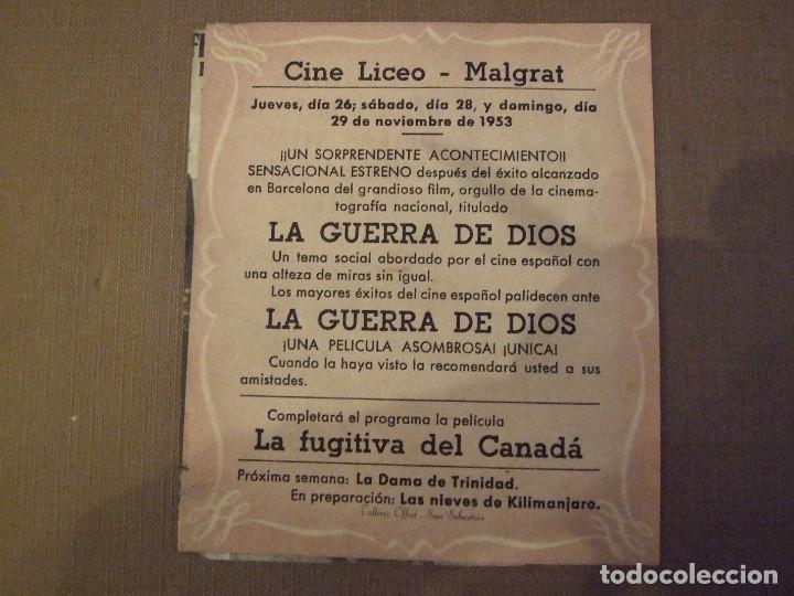Cine: LA GUERRA DE DIOS - DOBLE CON PUBLICIDAD CINE LICEO MALGRAT DE MAR - 1 ESQUINA TOCADA - Foto 3 - 177403419