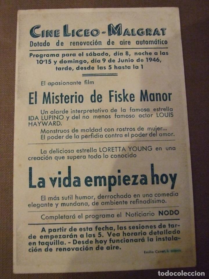 Cine: LA VIDA EMPIEZA HOY - SIMPLE CON PUBLICIDAD CINE LICEO MALGRAT DE MAR - PERFECTO - Foto 2 - 177403923