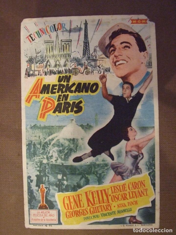 UN AMERICANO EN PARIS - SIMPLE CON PUBLICIDAD CINE LICEO MALGRAT DE MAR - 1 ESQUINA ROTA Y MARCAS (Cine - Folletos de Mano - Bélicas)