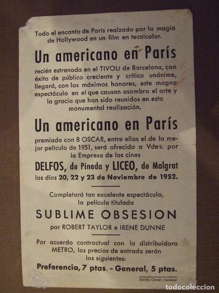 Cine: UN AMERICANO EN PARIS - SIMPLE CON PUBLICIDAD CINE LICEO MALGRAT DE MAR - 1 ESQUINA ROTA Y MARCAS - Foto 2 - 177404882