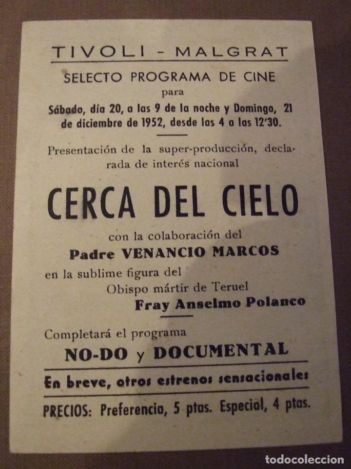 Cine: CERCA DEL CIELO - SIMPLE CON PUBLICIDAD CINE TIVOLI MALGRAT DE MAR - PERFECTO - Foto 2 - 177405872
