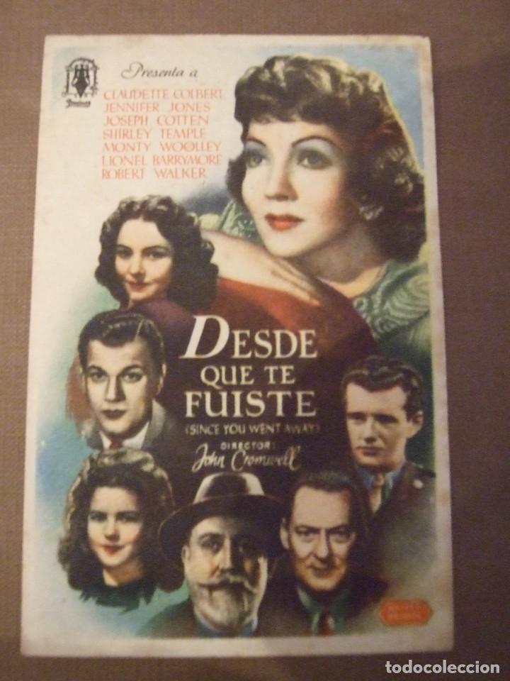 DESDE QUE TE FUISTE - SIMPLE CON PUBLICIDAD CINE CENTRO PARROQUIAL - MANCHAS (Cine - Folletos de Mano - Bélicas)
