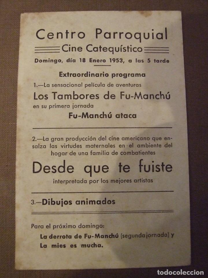 Cine: DESDE QUE TE FUISTE - SIMPLE CON PUBLICIDAD CINE CENTRO PARROQUIAL - MANCHAS - Foto 2 - 177406564