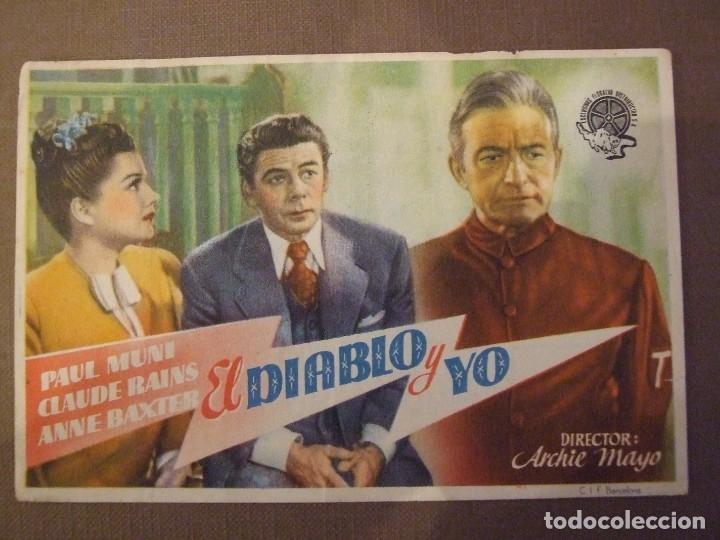 EL DIABLO Y YO - SIMPLE CON PUBLICIDAD GRAN TEATRO BARCELONA - BUEN ESTADO (Cine - Folletos de Mano - Bélicas)