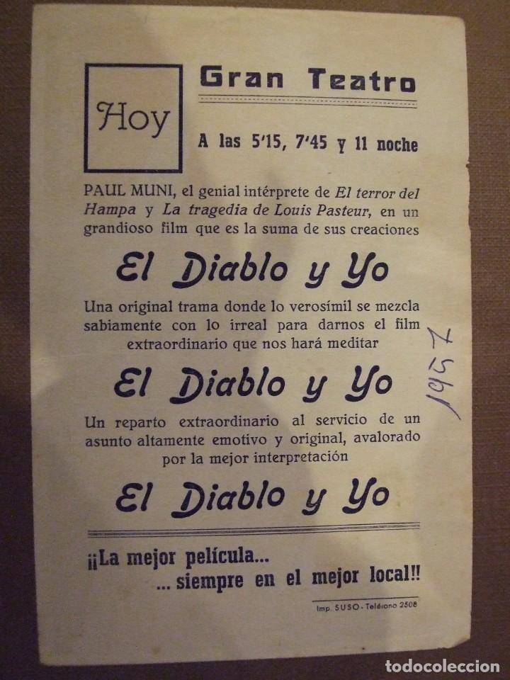 Cine: EL DIABLO Y YO - SIMPLE CON PUBLICIDAD GRAN TEATRO BARCELONA - BUEN ESTADO - Foto 2 - 177406928
