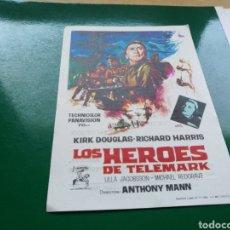 Cine: PROGRAMA DE CINE SIMPLE GRANDE. LOS HÉROES DE TELEMARK. TEATRO EMPERADOR DE LEÓN. 1966. Lote 177473377