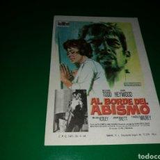 Cine: PROGRAMA DE CINE SIMPLE. AL BORDE DEL ABISMO. Lote 177511437