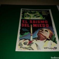 Cine: PROGRAMA DE CINE SIMPLE GRANDE. EL ABISMO DEL MIEDO. Lote 177512007