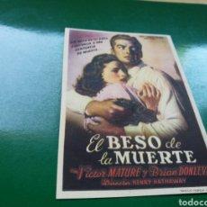Cine: PROGRAMA DE CINE SIMPLE. EL BESO DE LA MUERTE. CINE VERSALLES DE BARCELONA. Lote 177576294