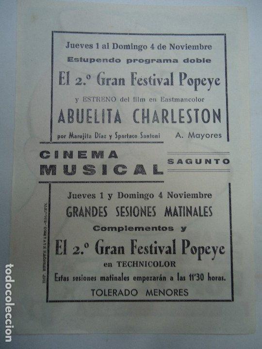 Cine: GRAN FESTIVAL POPEYE PUBLICIDAD CINEMA MUSICAL SAGUNTO PROGRAMA SENCILLO PARAMOUNT ANIMACION - Foto 2 - 177831547