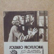 Cine: ANTIGUO FOLLETO PROGRAMA TARJETA DE MANO CINE TEATRO SOLDADO PROFESIONAL VISCTOR MC.LAGLEN. Lote 178038044