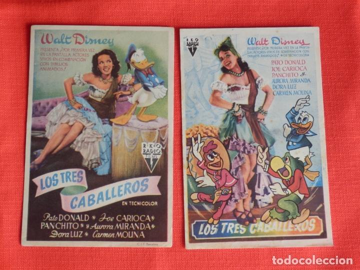 LOS TRES CABALLEROS, 2 SENCILLOS ORIGINALES, WALT DISNEY,1 CON SELLO PUBLICINE C. NACIONAL Y MUNDIAL (Cine - Folletos de Mano - Infantil)