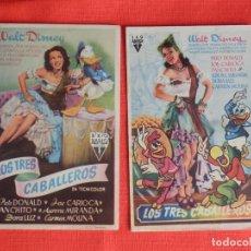 Cine: LOS TRES CABALLEROS, 2 SENCILLOS ORIGINALES, WALT DISNEY,1 CON SELLO PUBLICINE C. NACIONAL Y MUNDIAL. Lote 178131523