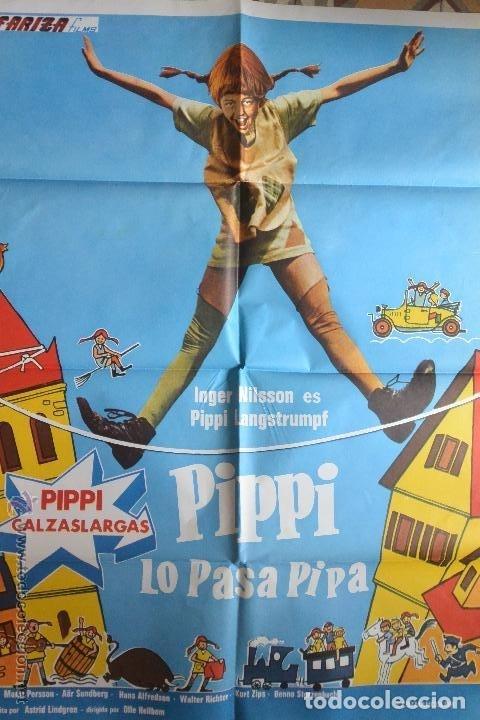 ANTIGUO CARTEL CINE PIPI SE LO PASA PIPA 70 X 100 (Cine - Folletos de Mano - Infantil)